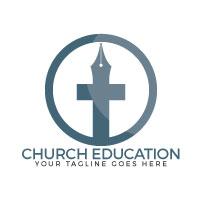 Church Education Vector Logo Design