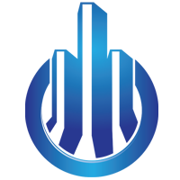 3D blue Building Logo Design template