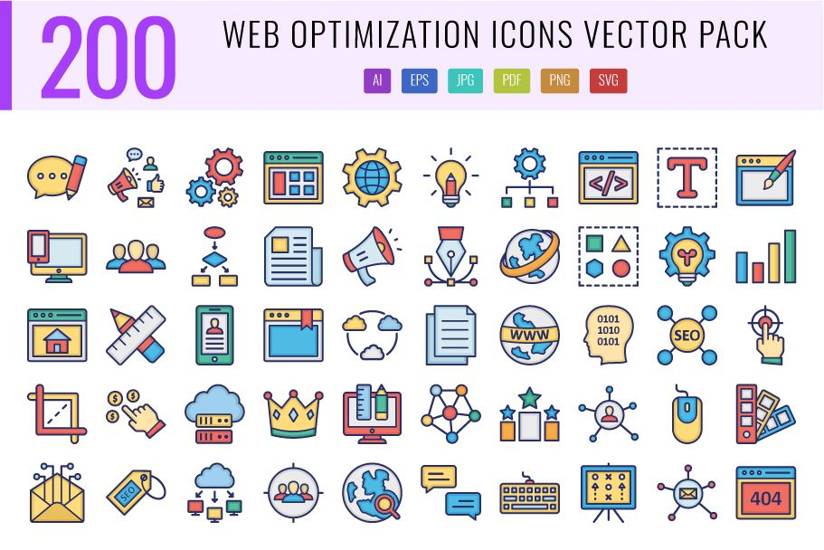 200 Web Optimization Vector Icons Pack Screenshot 1