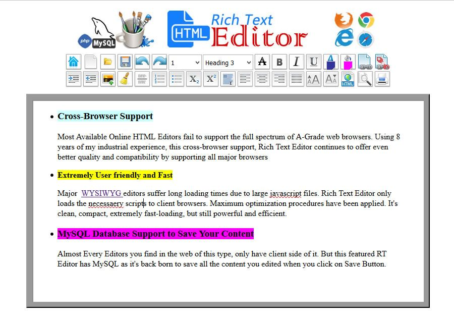 HTML WYSIWYG Rich Text Editor -  PHP Script Screenshot 2