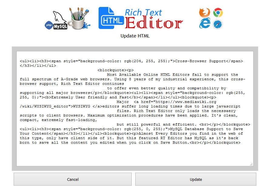 HTML WYSIWYG Rich Text Editor -  PHP Script Screenshot 5