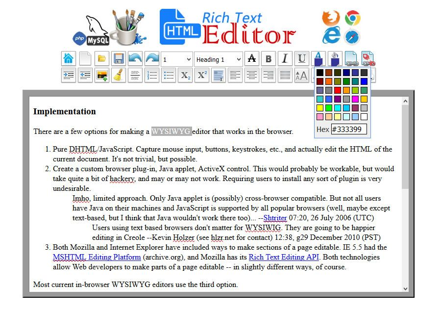HTML WYSIWYG Rich Text Editor -  PHP Script Screenshot 7