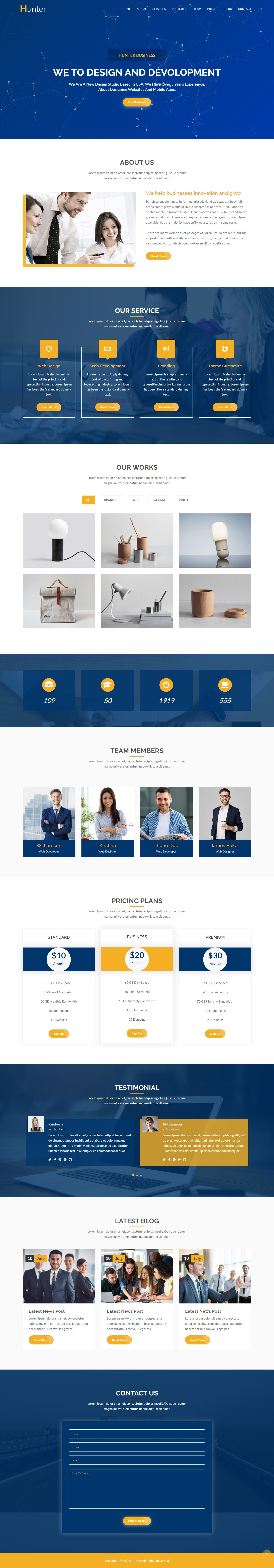 Hunter - One page Corporate HTML5 Template Screenshot 1
