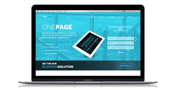 Azure - One Page Marketing  HTML Template Screenshot 1