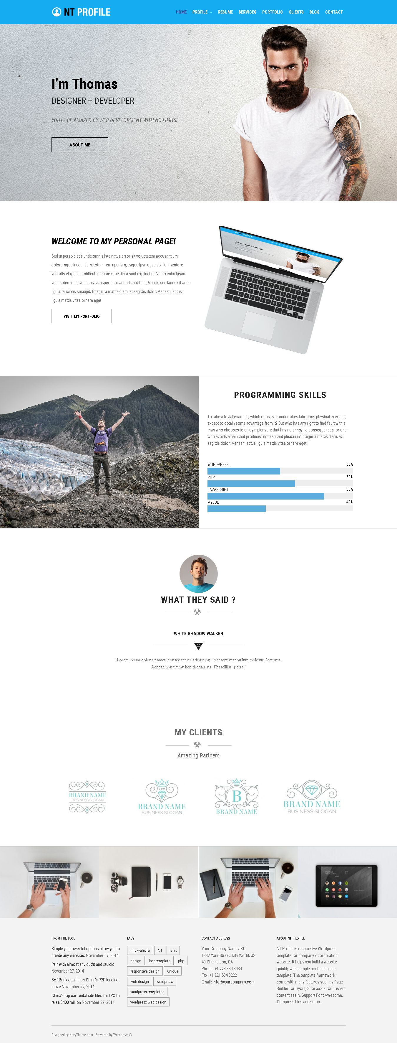 nt profile  u2013 cv resume wordpress theme