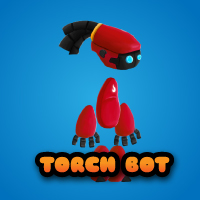 Torch Bot 2D Game Character Sprites