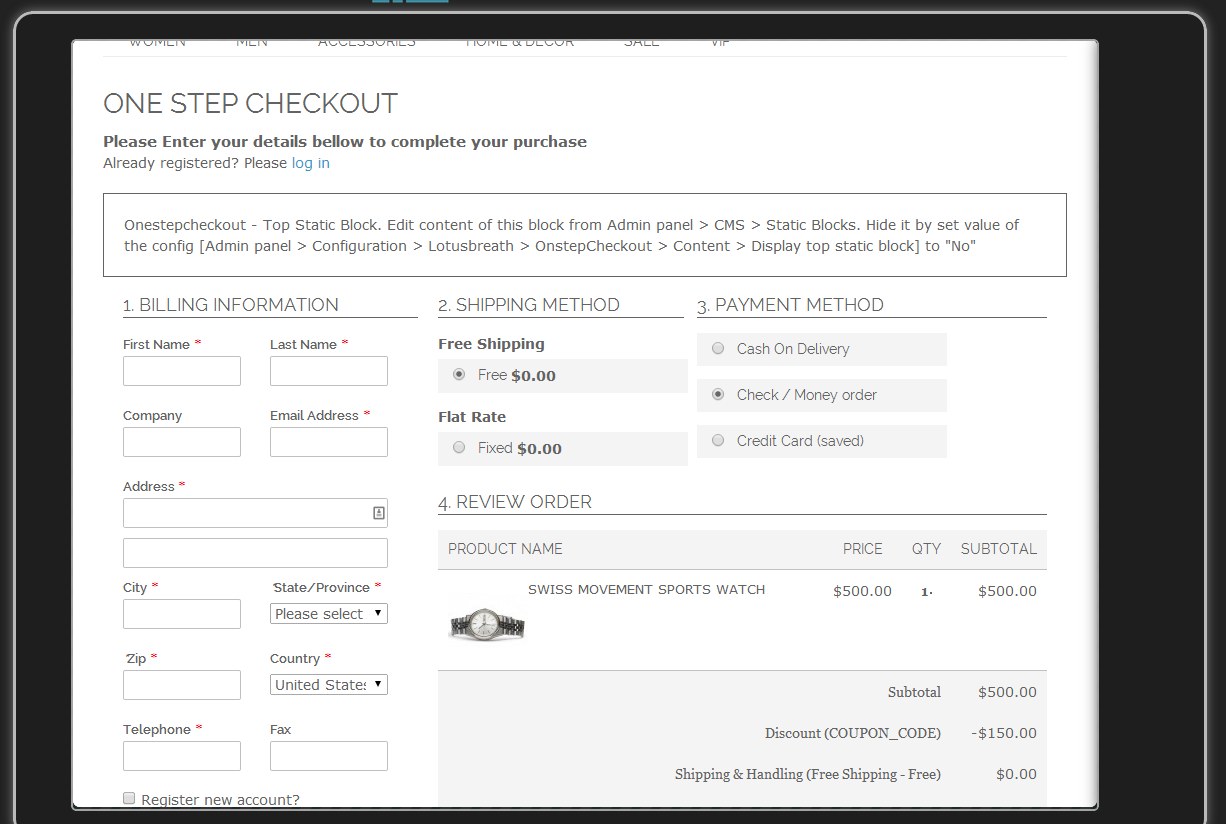 One Step Checkout - Magento Extension Screenshot 11