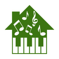 Music Logo with Note and House Concept