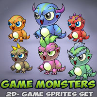 6 Monsters Game Sprites Set