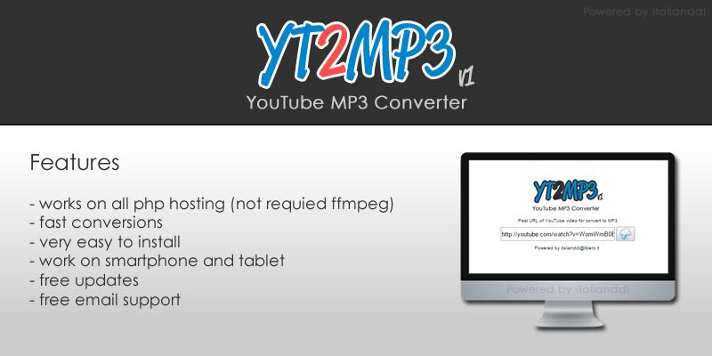 YT2MP3 YouTube MP3 Converter PHP Script