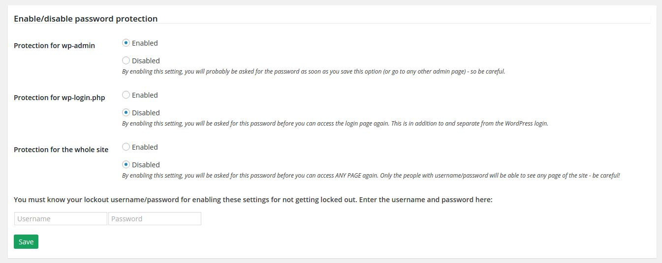 htaccess Site Access Control - WordPress Plugin Screenshot 2
