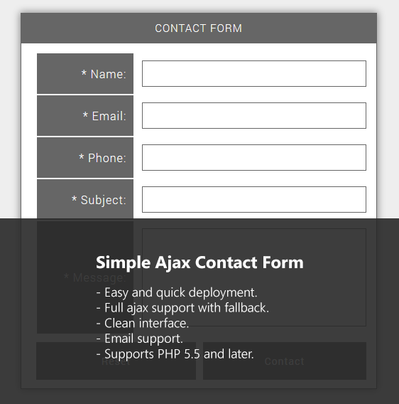 Simple Ajax Contact Form PHP Script Screenshot 1