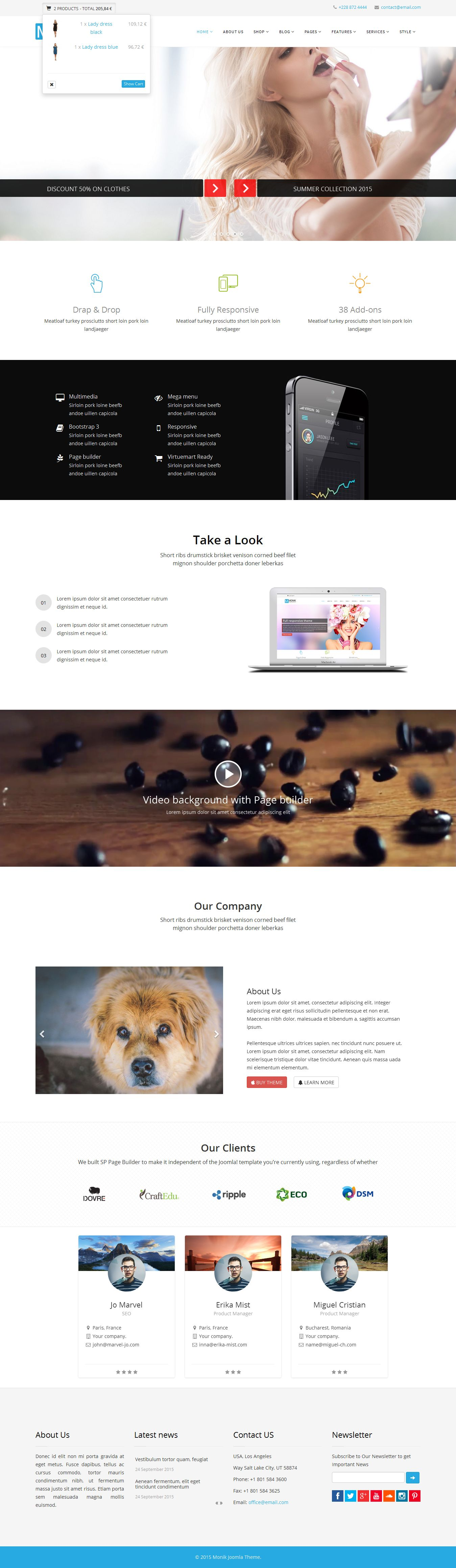 Monik - Responsive Multi-purpose Joomla Template Screenshot 8