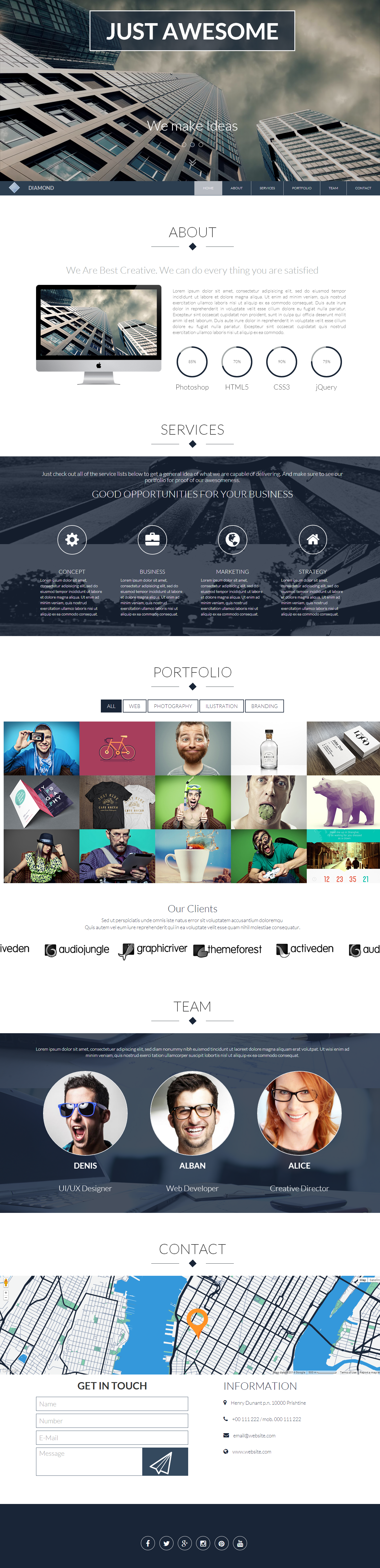 Diamond - OnePage Responsive HTML Template Screenshot 1