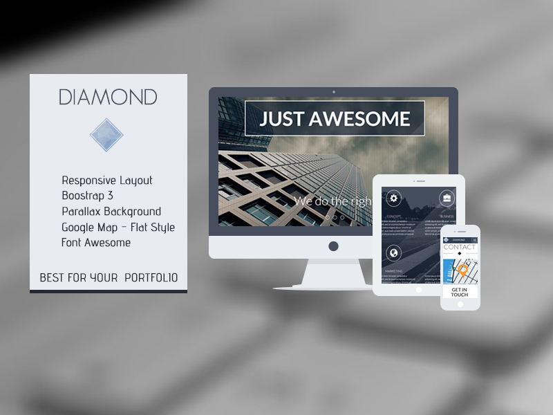 Diamond - OnePage Responsive HTML Template Screenshot 2