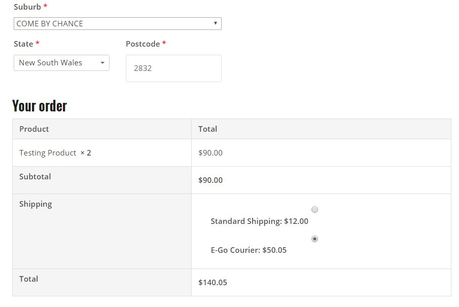 E-Go Courier WooCommerce Plugin Screenshot 2
