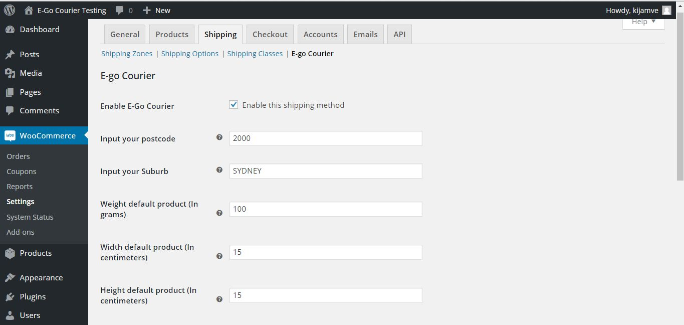 E-Go Courier WooCommerce Plugin Screenshot 3