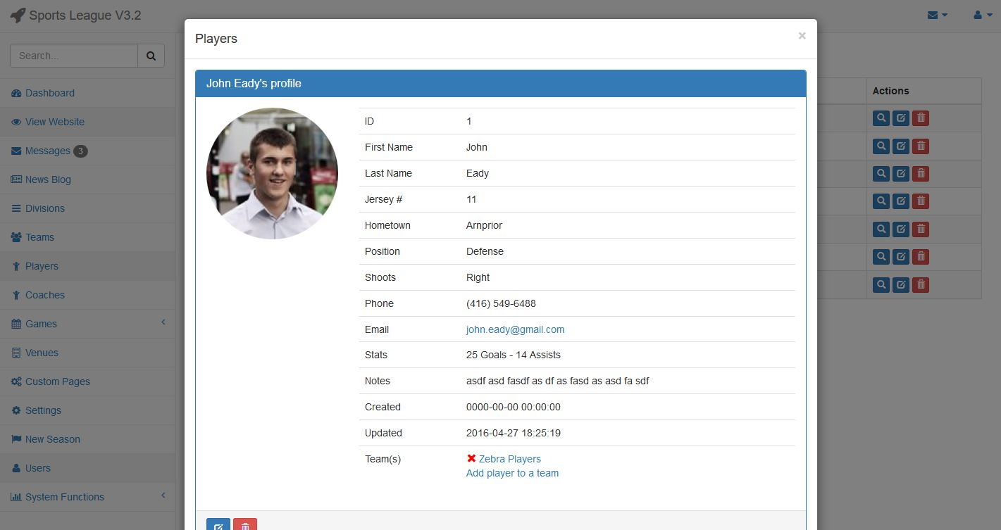 Sports League Manager PHP Script Screenshot 1