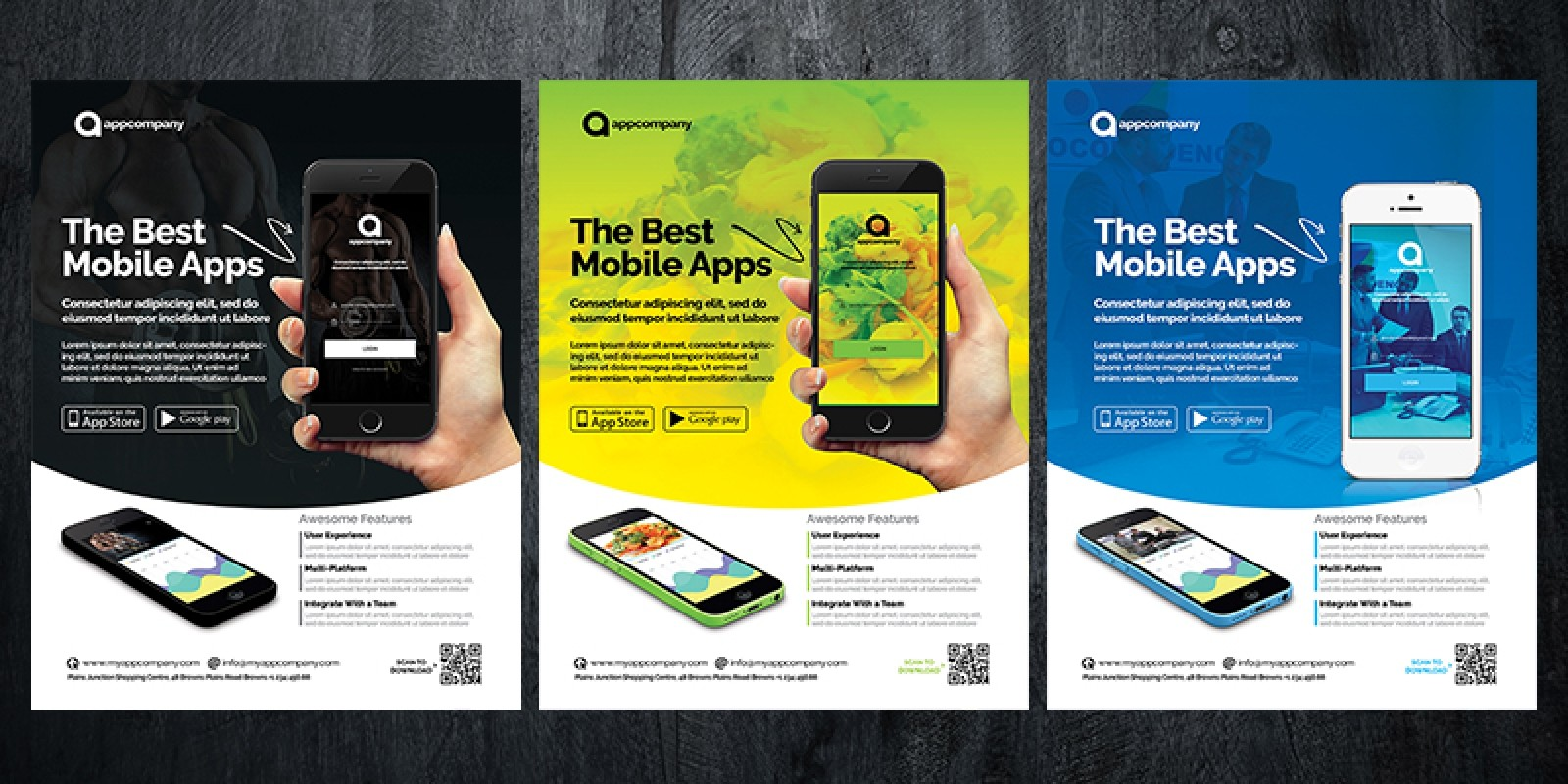 Mobile app flyer template brochure templates codester for Titanium app templates