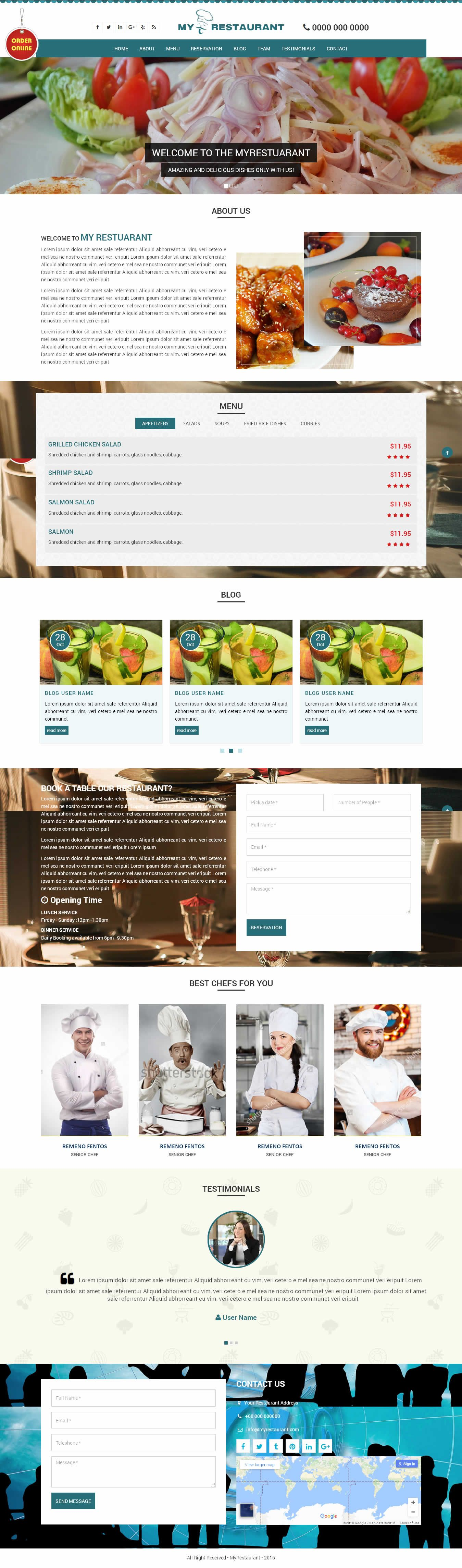 MyRestaurant - OnePage HTML Template Screenshot 3