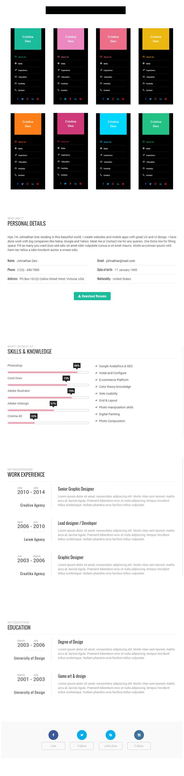 Swiftly - Resume Wordpress Theme Screenshot 2