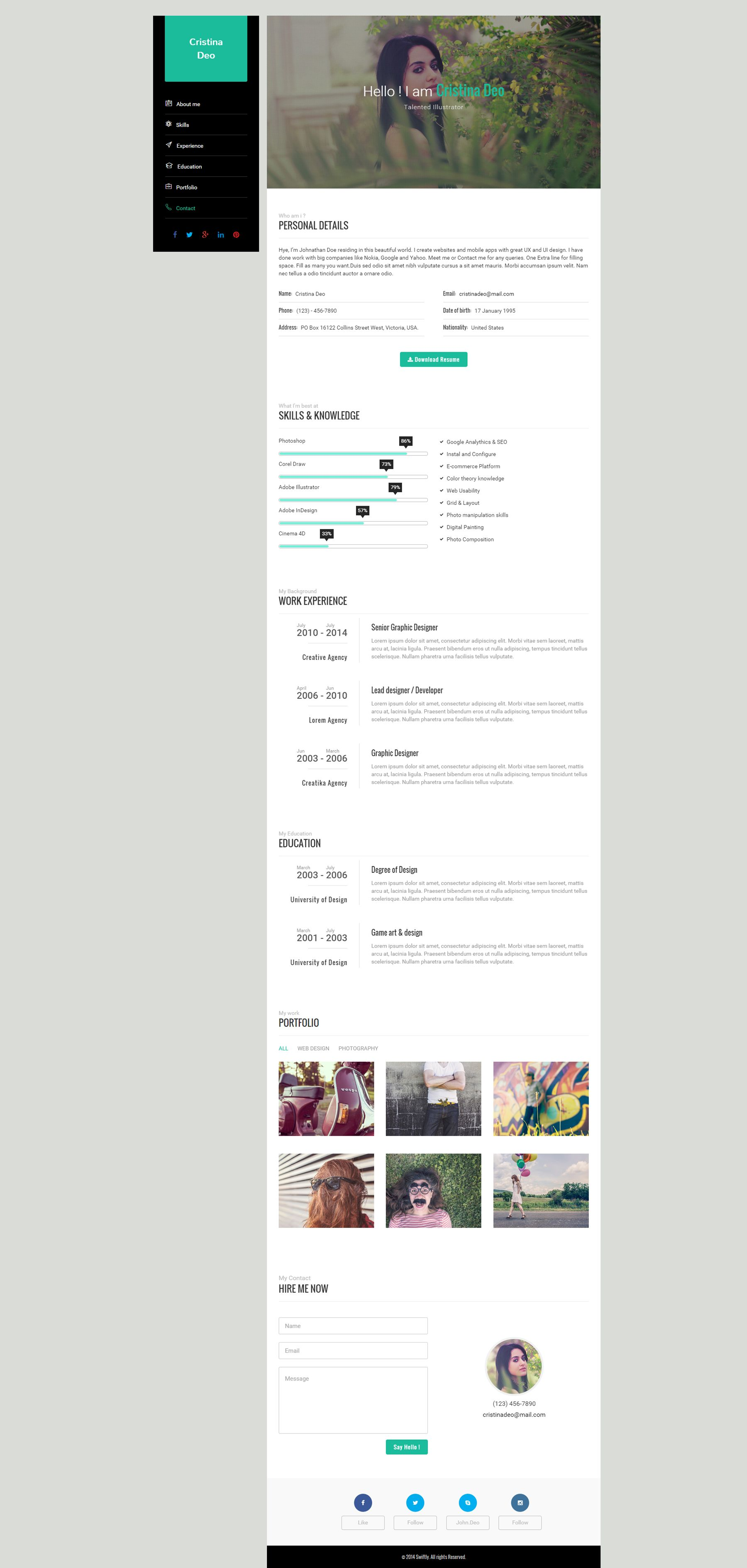 Swiftly - Resume Wordpress Theme Screenshot 3