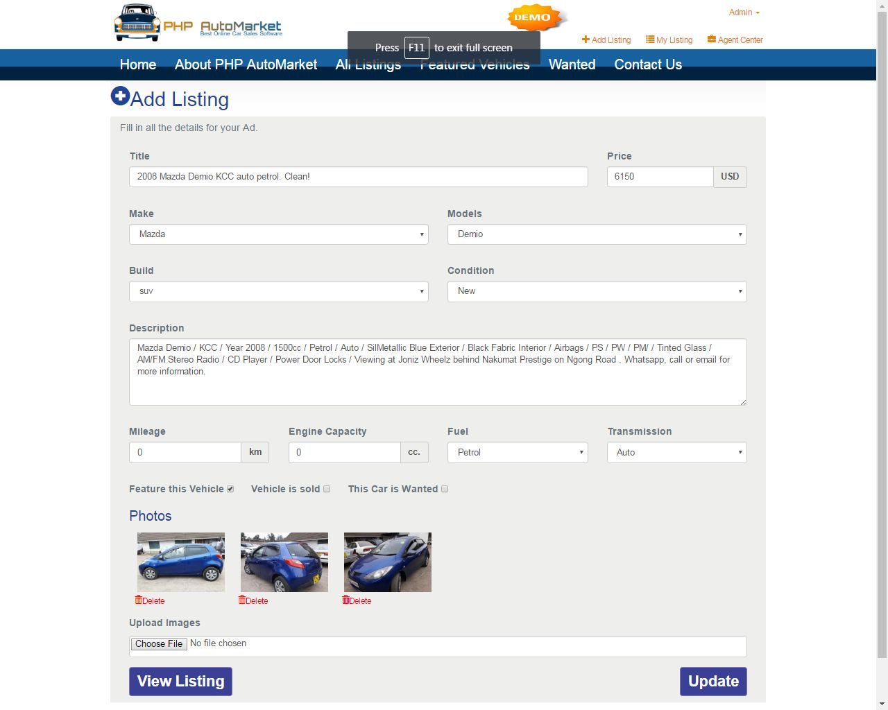 PHP AutoMarket - Car Marketplace PHP Script Screenshot 1