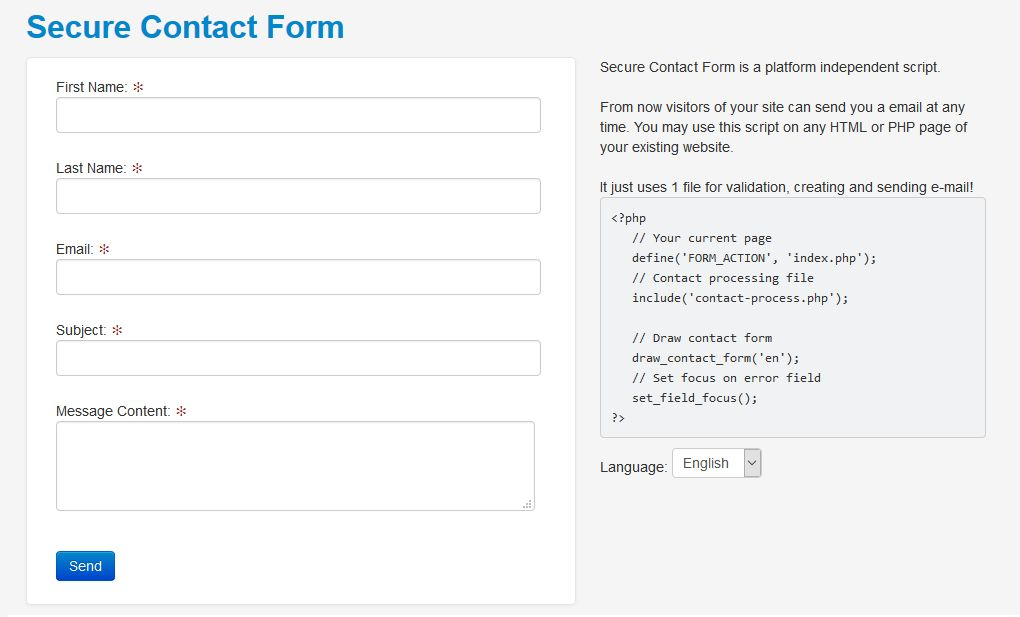 Secure Contact Form PHP Script Screenshot 1