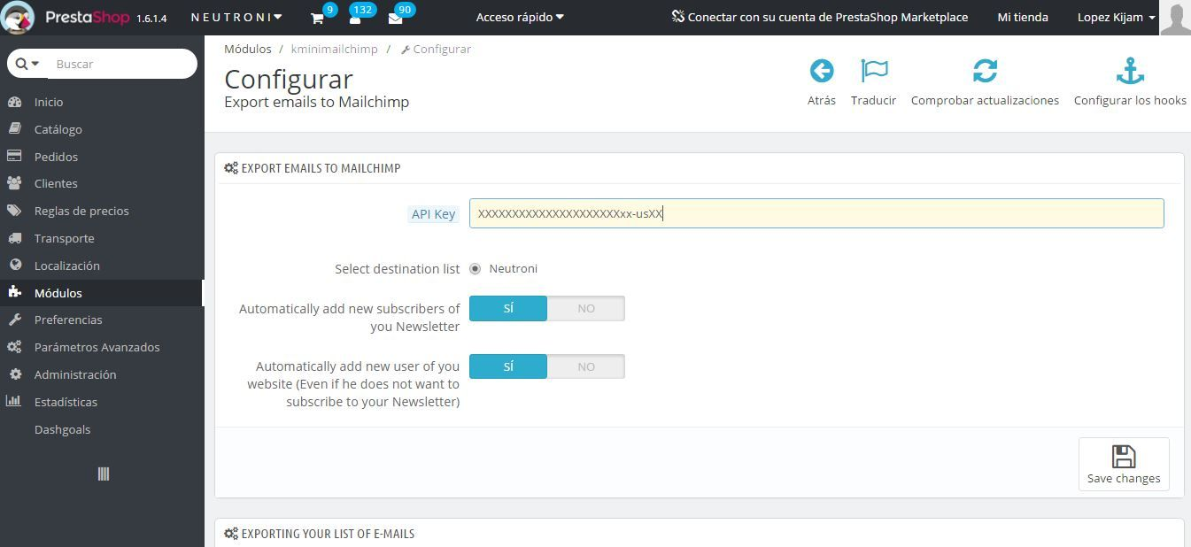 Export emails to Mailchimp - PrestaShop Module Screenshot 1