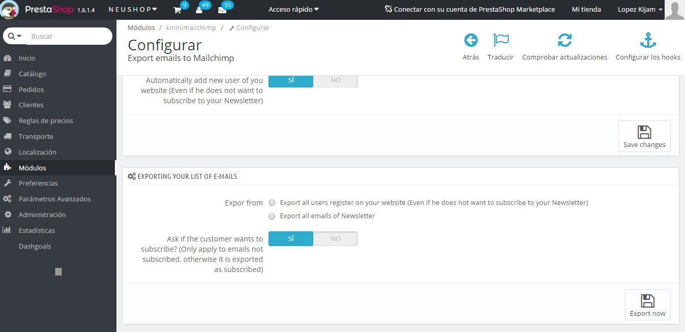 Export emails to Mailchimp - PrestaShop Module Screenshot 2