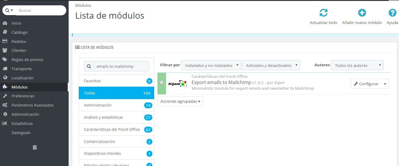 Export emails to Mailchimp - PrestaShop Module Screenshot 3