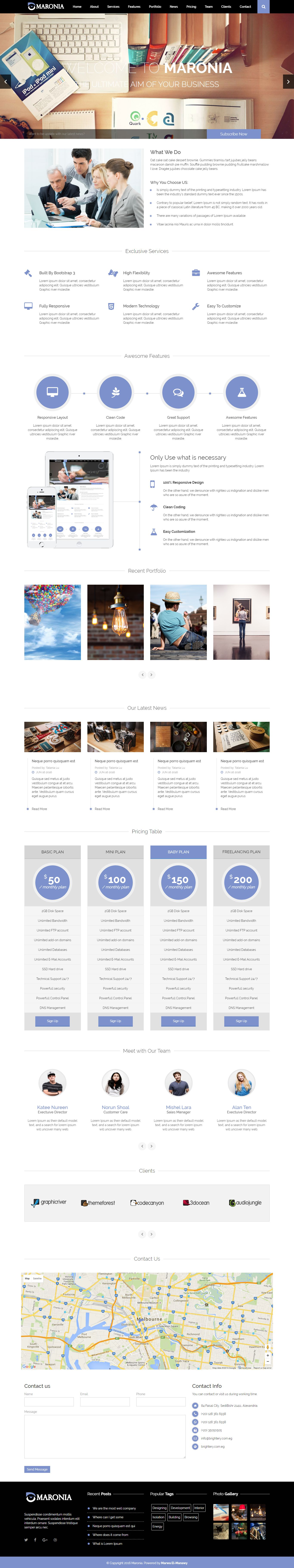 Maronia - Responsive One Page HTML Template Screenshot 1