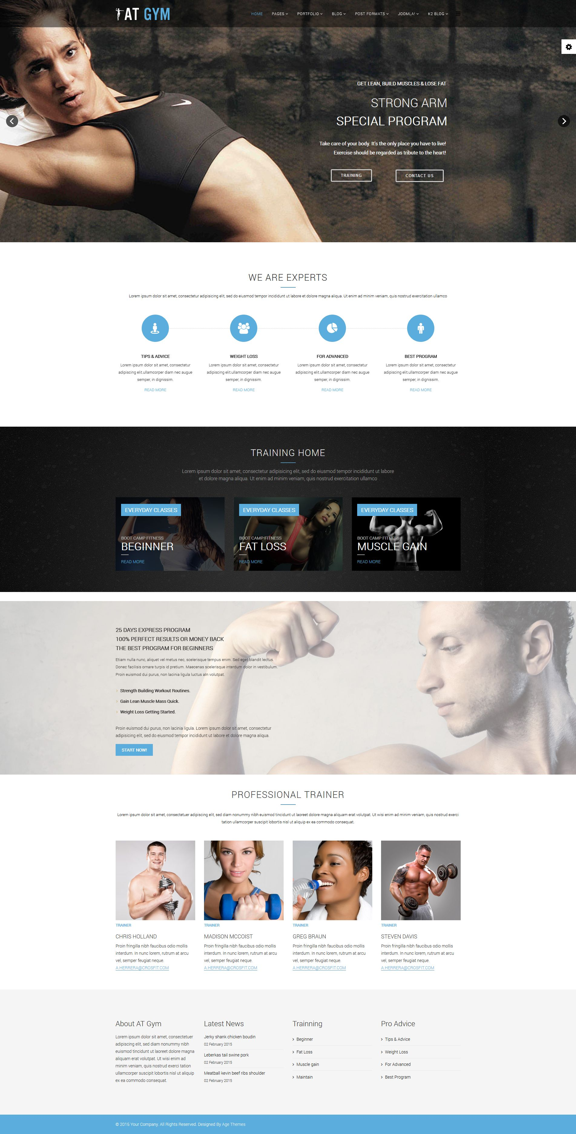 AT Gym – Fitness Gym Joomla template Screenshot 1