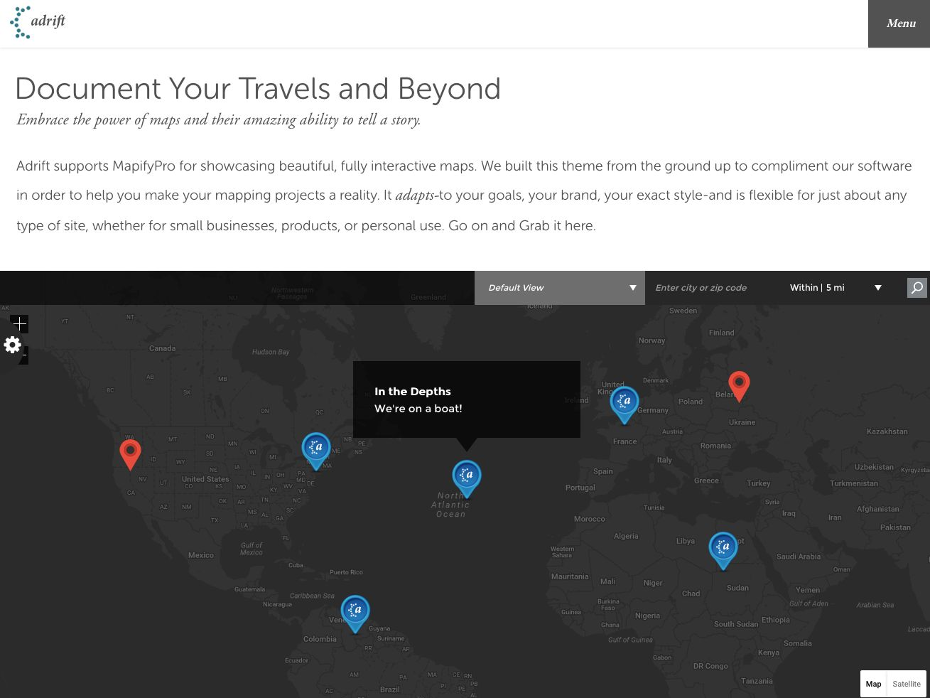 Adrift - Map Focused WordPress Theme Screenshot 7