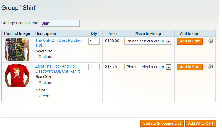 Shopping List - Magento Extension Screenshot 6