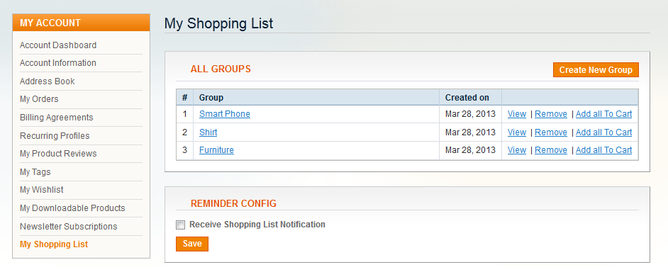 Shopping List - Magento Extension Screenshot 7