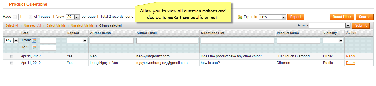 Product Question - Magento Extension Screenshot 3