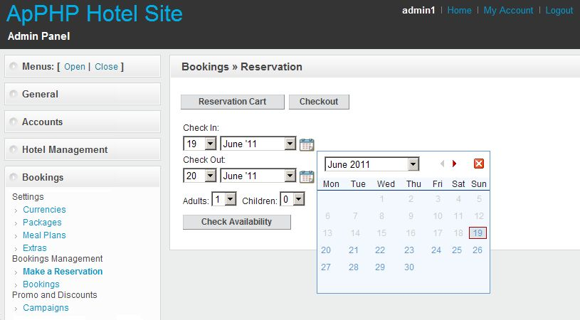 PHP Hotel Reservation System Light