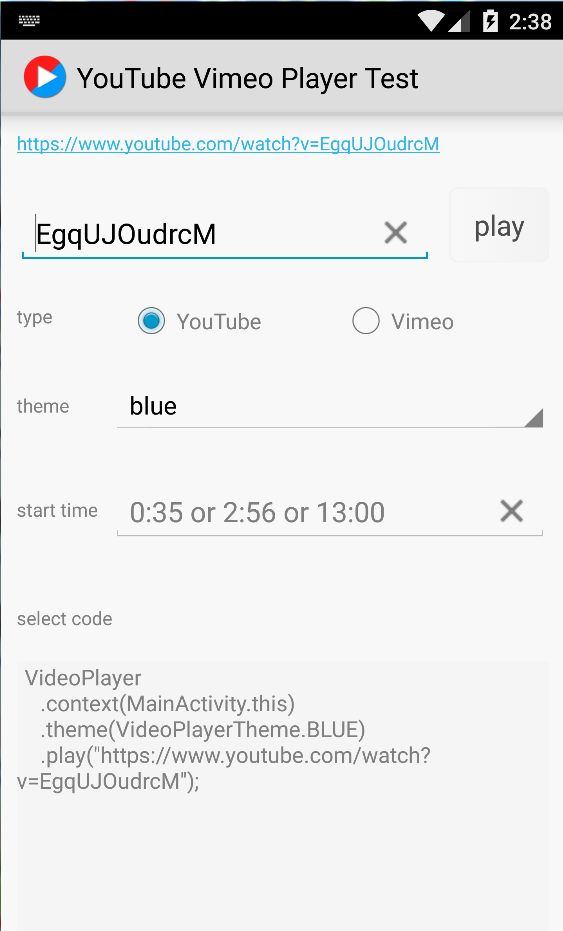 YouTube Vimeo Video Player - Android Source Code Screenshot 2