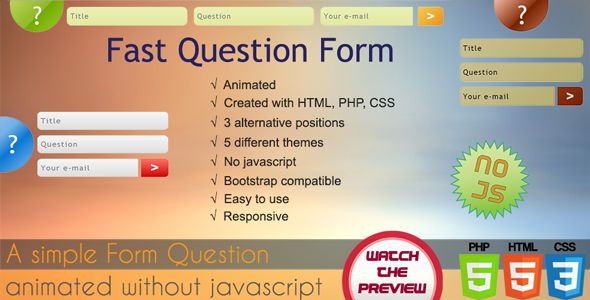 Fast Question Form PHP Script Screenshot 1