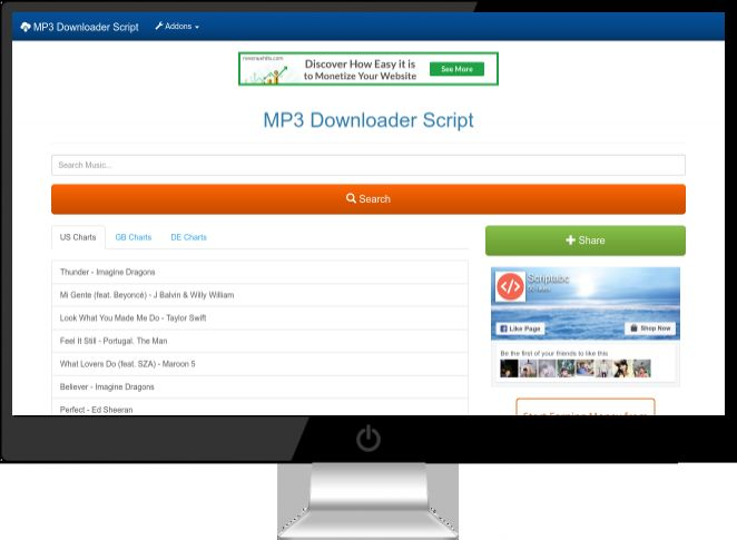 MP3 Downloader PHP Script Screenshot 1