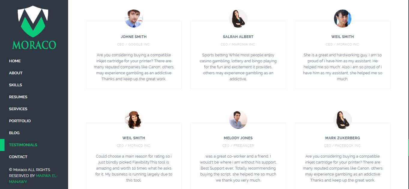 Moraco - Personal Vcard Resume Wordpress Theme Screenshot 5