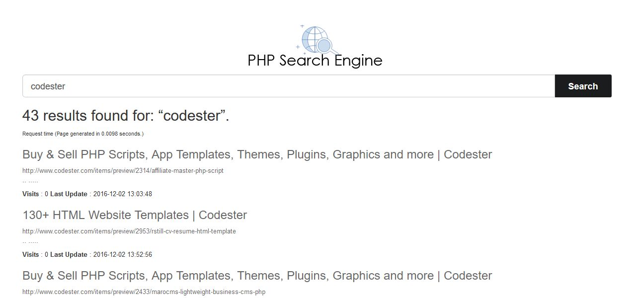 PHP Search Engine - MySQl based Simple Site Search Screenshot 3