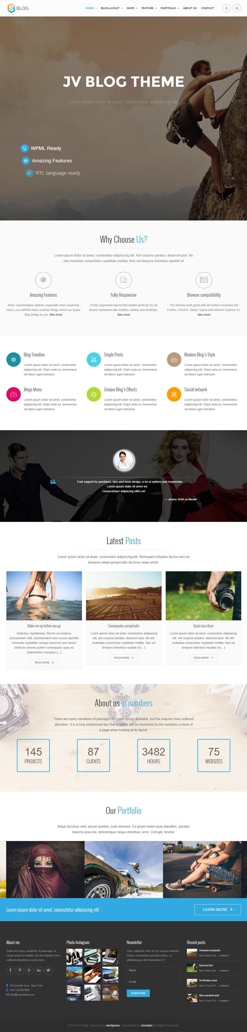 Jv Blog - Responsive WordPress Theme Screenshot 1