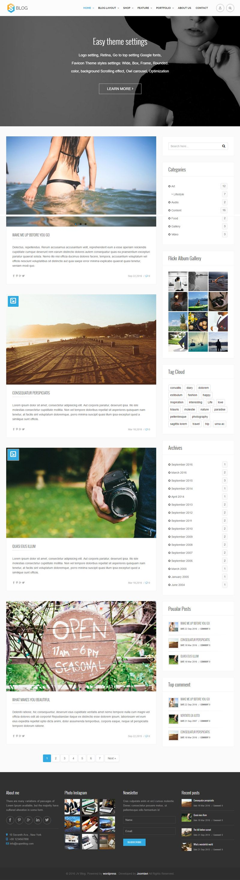 Jv Blog - Responsive WordPress Theme Screenshot 4