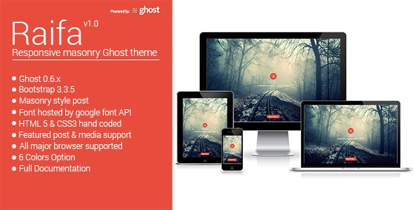 Raifa - Responsive Masonary Ghost Theme Screenshot 1