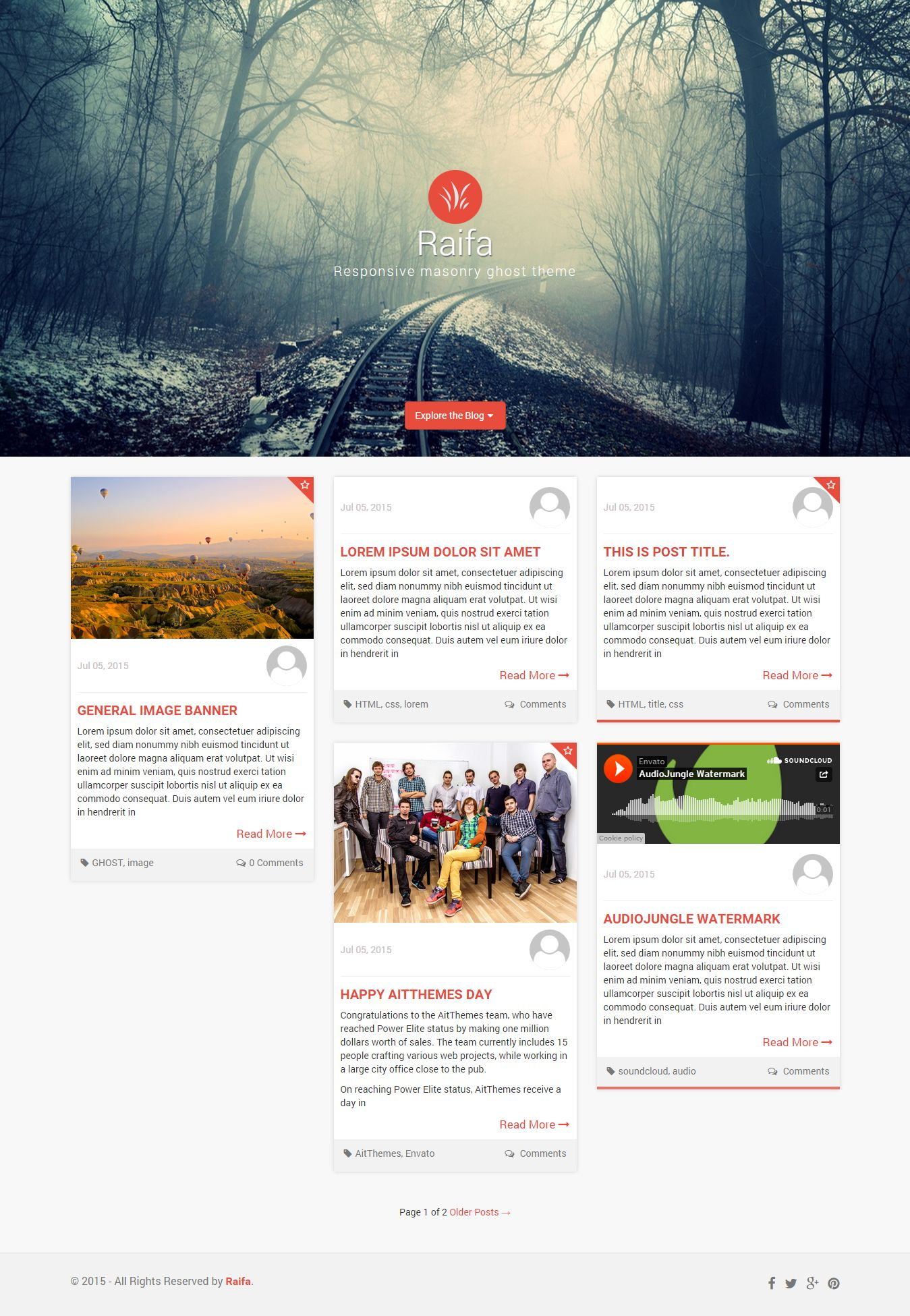 Raifa - Responsive Masonary Ghost Theme Screenshot 2
