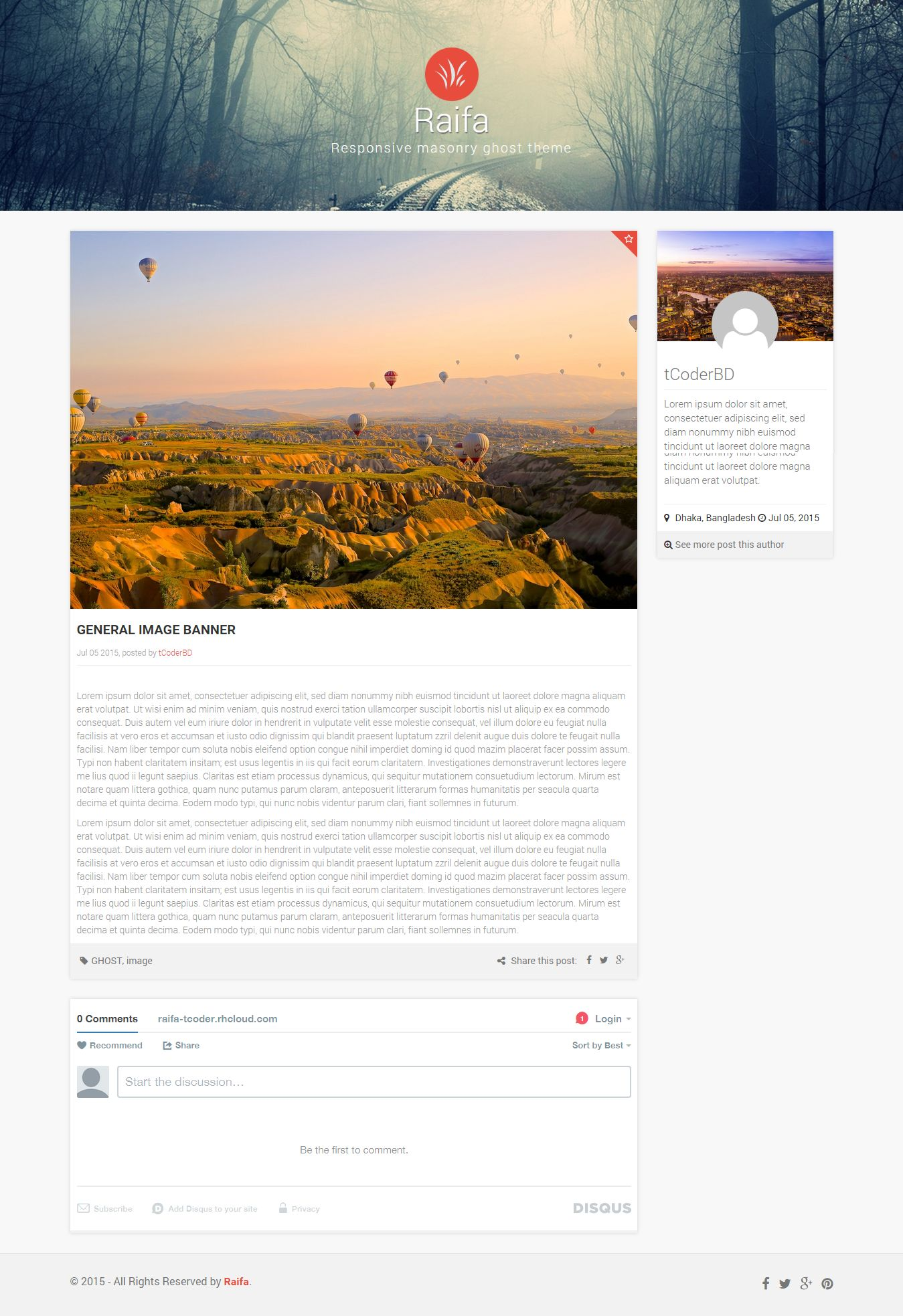 Raifa - Responsive Masonary Ghost Theme Screenshot 3