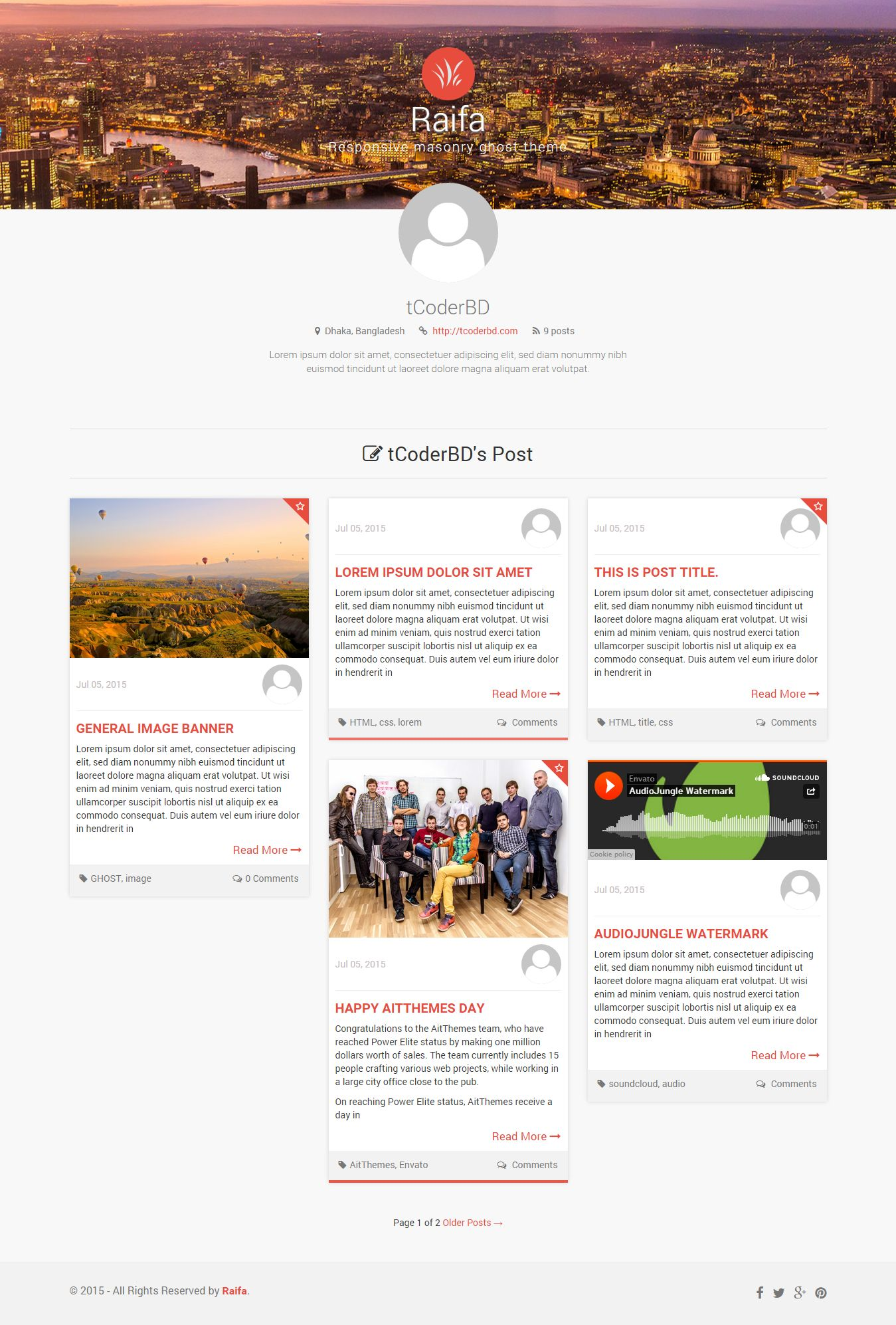 Raifa - Responsive Masonary Ghost Theme Screenshot 4