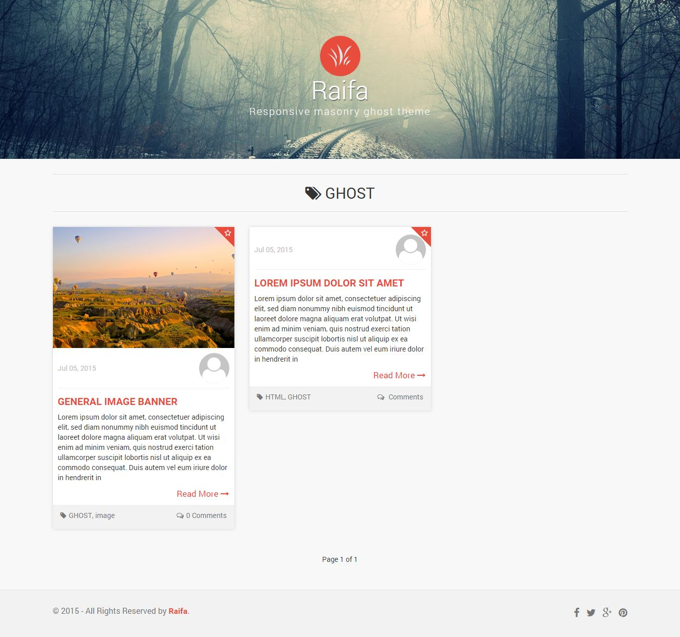 Raifa - Responsive Masonary Ghost Theme Screenshot 5